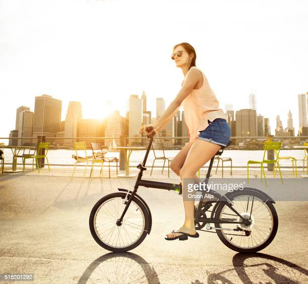 Woman riding a bike in New York