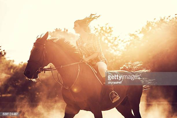 Woman riding a stallion outdoors.