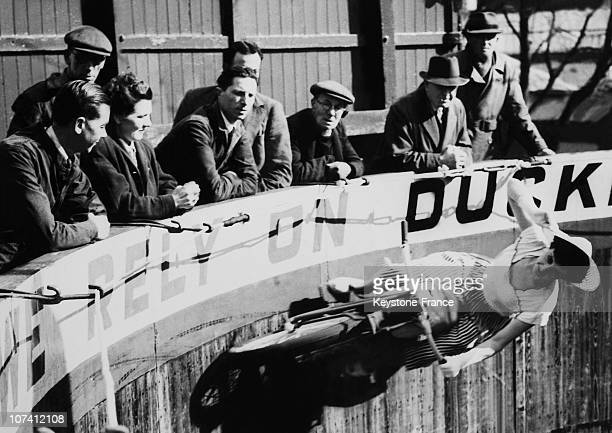 Woman Riding Around The Wall Of Death On March 1951