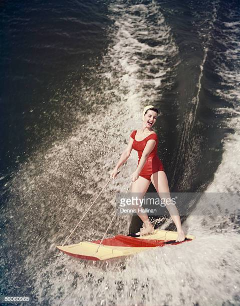 Woman Riding on Water Sled
