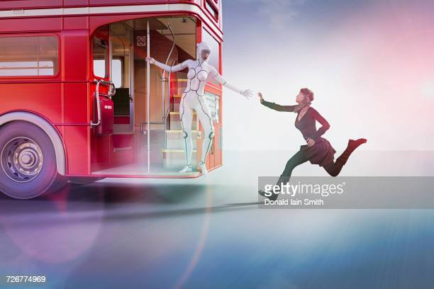 Woman robot reaching for hand of woman running for bus