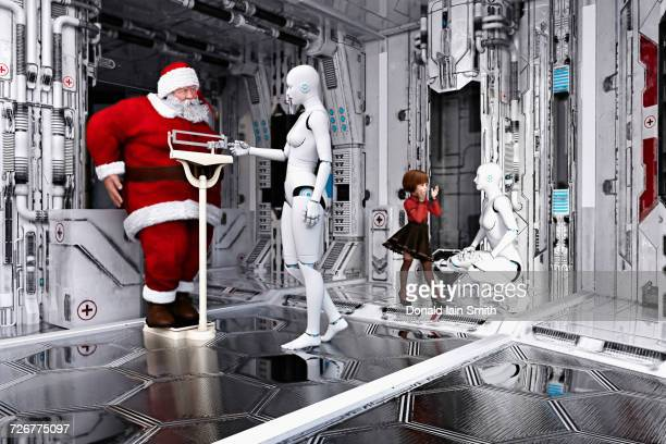 Woman robot weighing Santa on scale