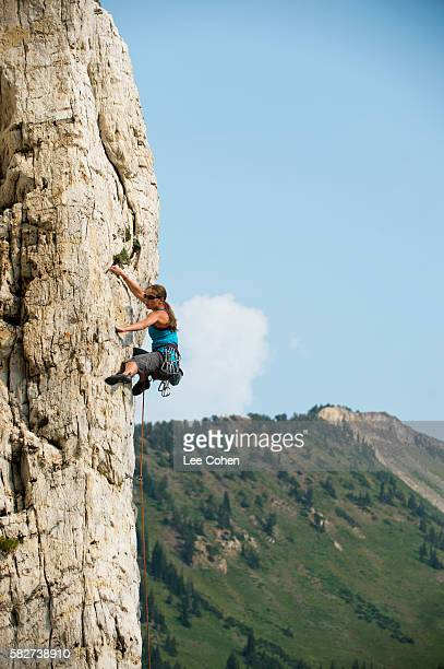Woman rock climber in Utah