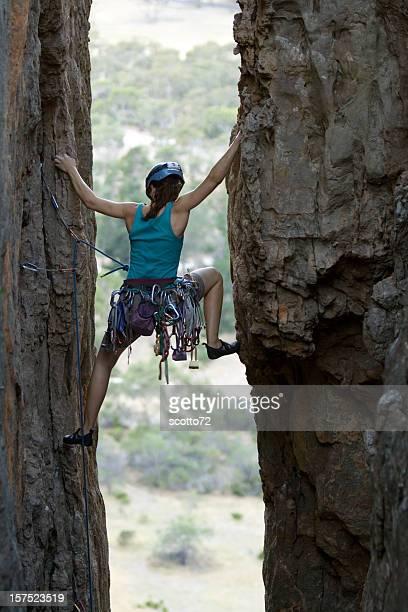 Woman rockclimbing