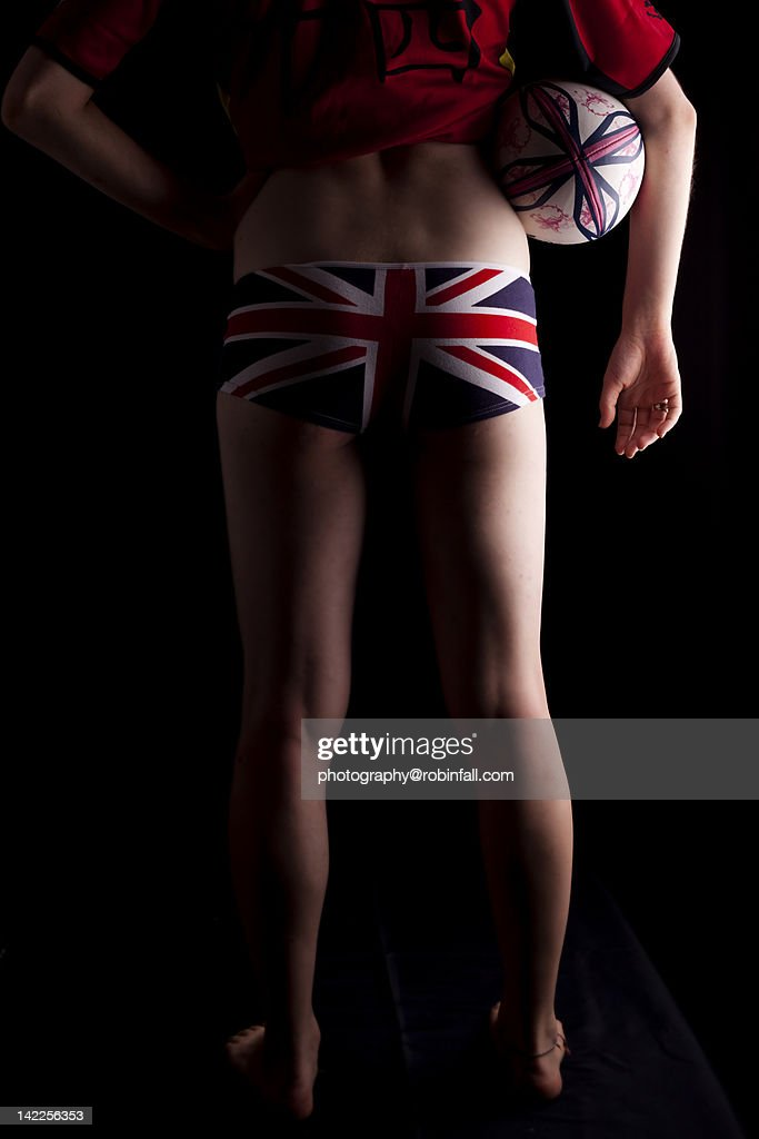 Woman rugby player wearing British flag underwear : Stock Photo