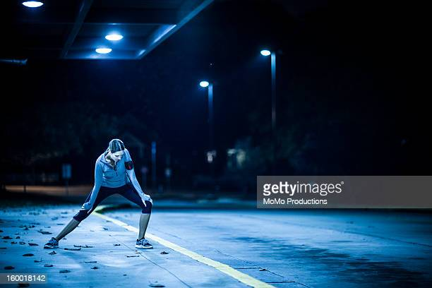 woman running at nighttime