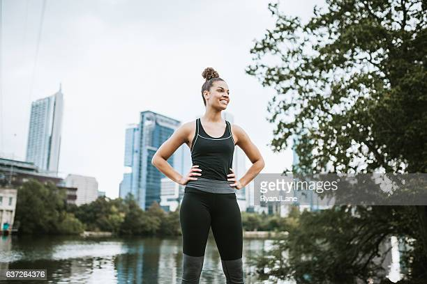 Woman Running in Downtown Austin