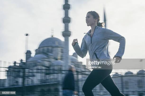 Woman running in Istanbul