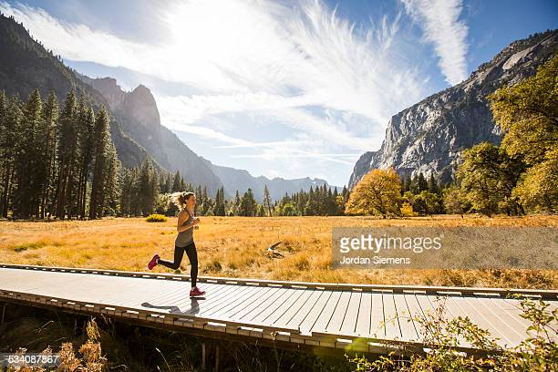 A woman running in nature