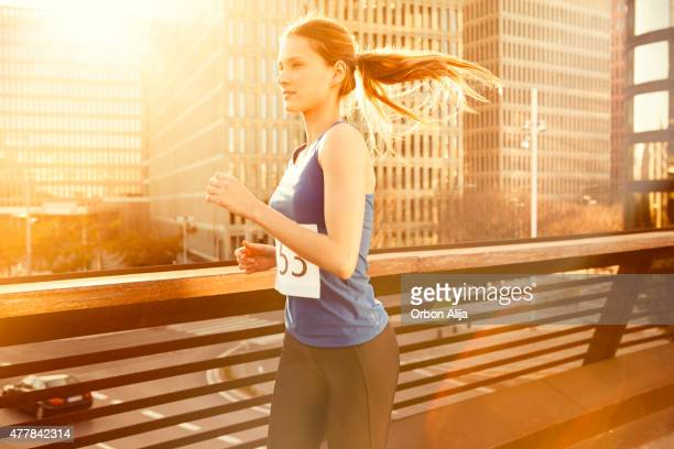 Woman running in the city.