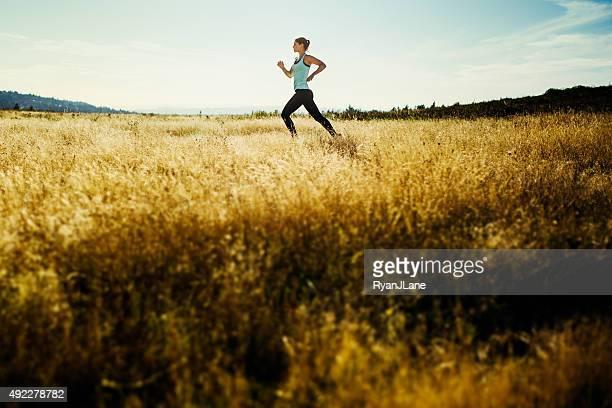 Femme courir à travers champ doré