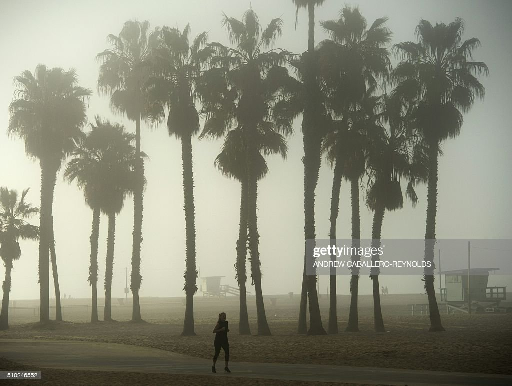 A woman runs along the beach on a foggy morning in Santa Monica, California on February 14, 2016. / AFP / ANDREW CABALLERO-REYNOLDS