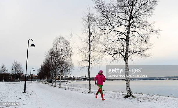 A woman runs next to the Storsjon lake in Ostersund Sweden on November 30 2012AFP PHOTO/JONATHAN NACKSTRAND