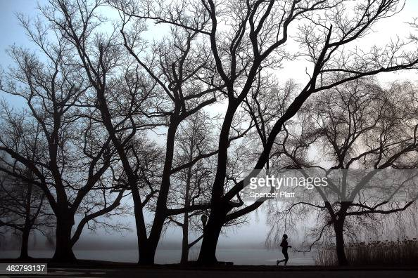 A woman runs through Prospect Park in Brooklyn on a morning with dense fog on January 15 2014 in New York City Travel delays were reported for...