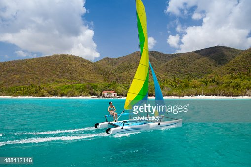 woman sailing a catamaran in Cinnamon Bay, St.John, USVI