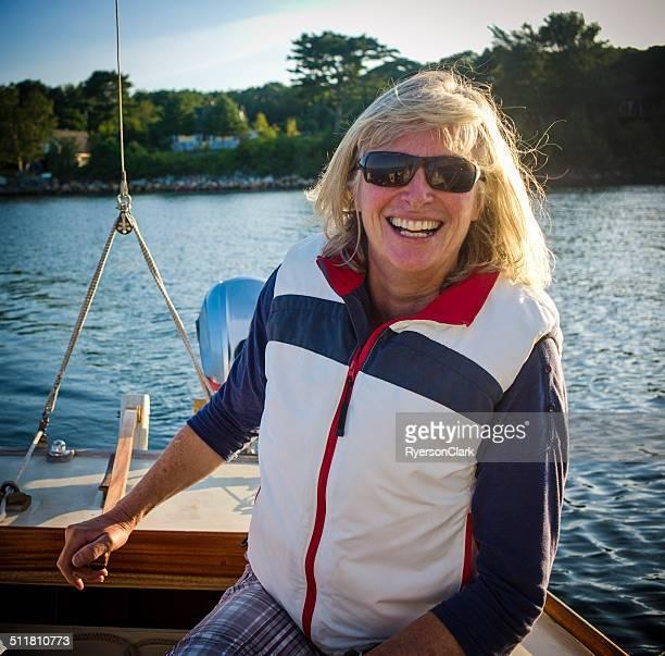 Woman Sailor Enjoys a Day on Mahone Bay Nova Scotia