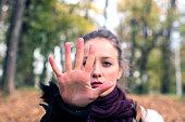 Stop Gesture, Women, Stop - Single Word, Self-Defense, One Woman Only