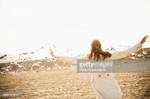 Woman scaring seagulls on beach : Bildbanksbilder