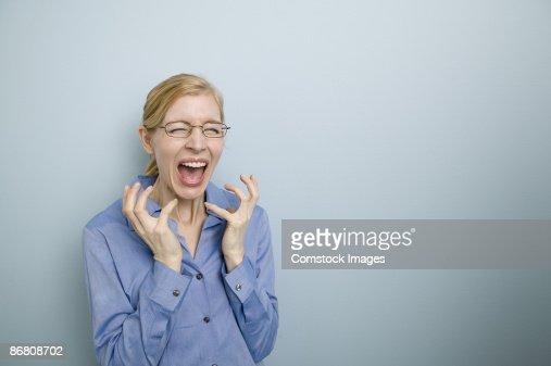 Woman screaming : Stock Photo