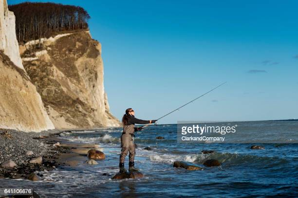 Woman Sea Fishing at Møns Klint Denmark