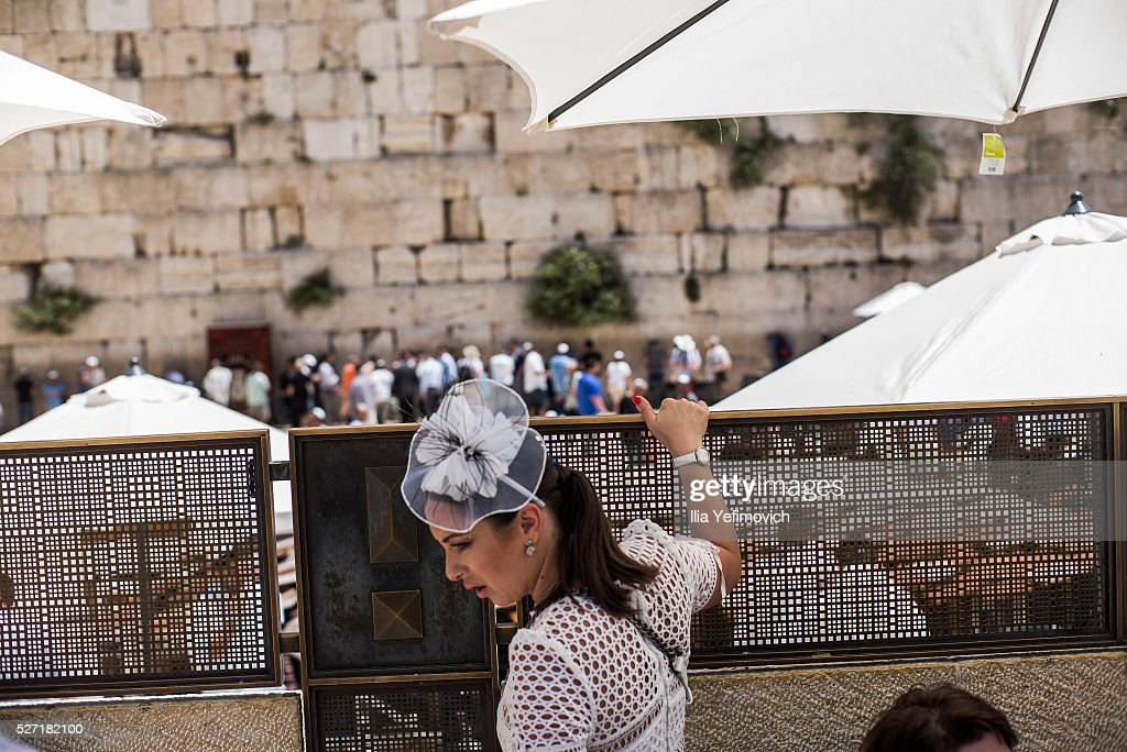 Woman seen at the Western Wall on May 2, 2016 in Jerusalem, Israel. Ahead of Holocoust remembrance day , a group of Holocoust survivers had the oportunity to take part in Bar Mitzvah ceronomy decades after the holocoust.