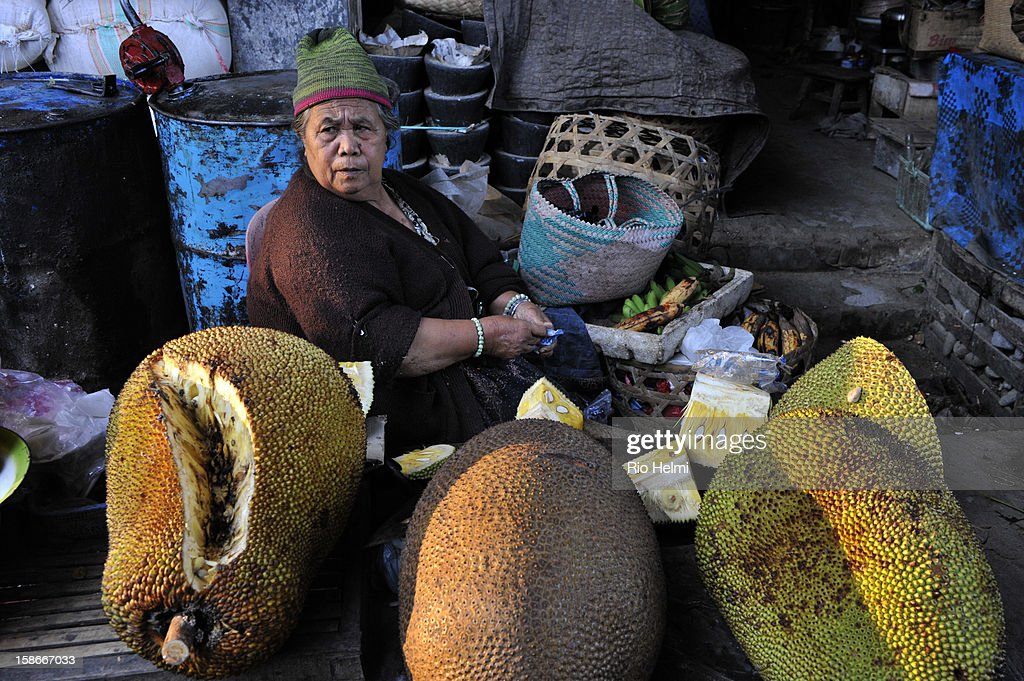 MARKET, PAYANGAN, BALI, INDONESIA - : A woman selling oversized jackfruit in the Payangan Market at sunrise.