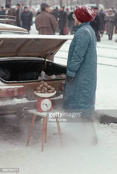 Woman Selling Potatoes out of Car Trunk