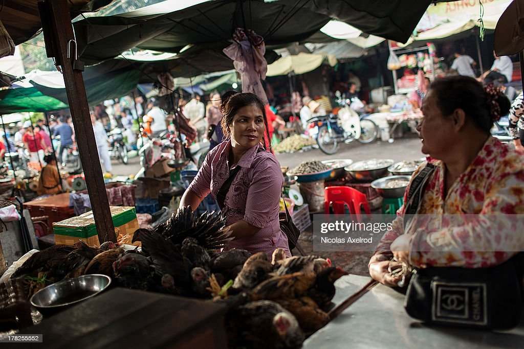 A woman sells live chickens at the Kandal Market in central Phnom Penh on August 25, 2013 in Phnom Penh, Cambodia. Cambodia has seen the worst out break of Avian influenza H5N1 since the disease was first identified, so far this year 17 cases have been report, 10 of which have been fatal.