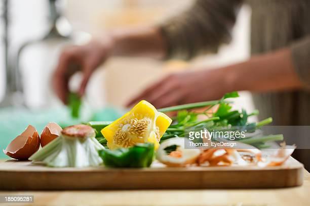 Woman Separating Organic Garbage