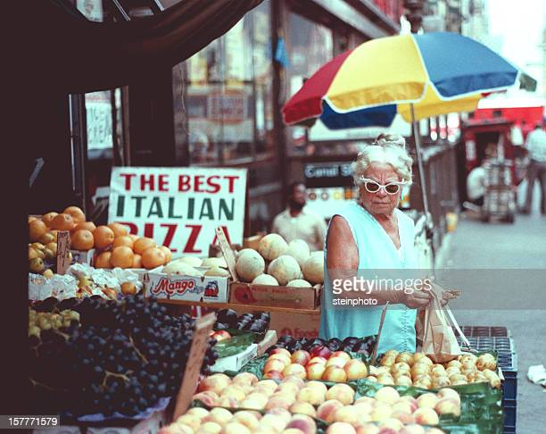 Woman Shopper City Fruit Stand