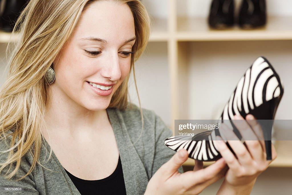 'Woman Shopper Shopping for Animal Print Shoes, Fashion Boutique'
