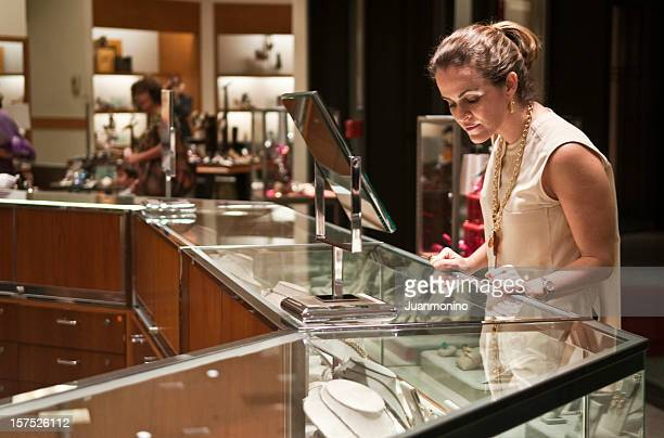Woman shopping at a jewelry