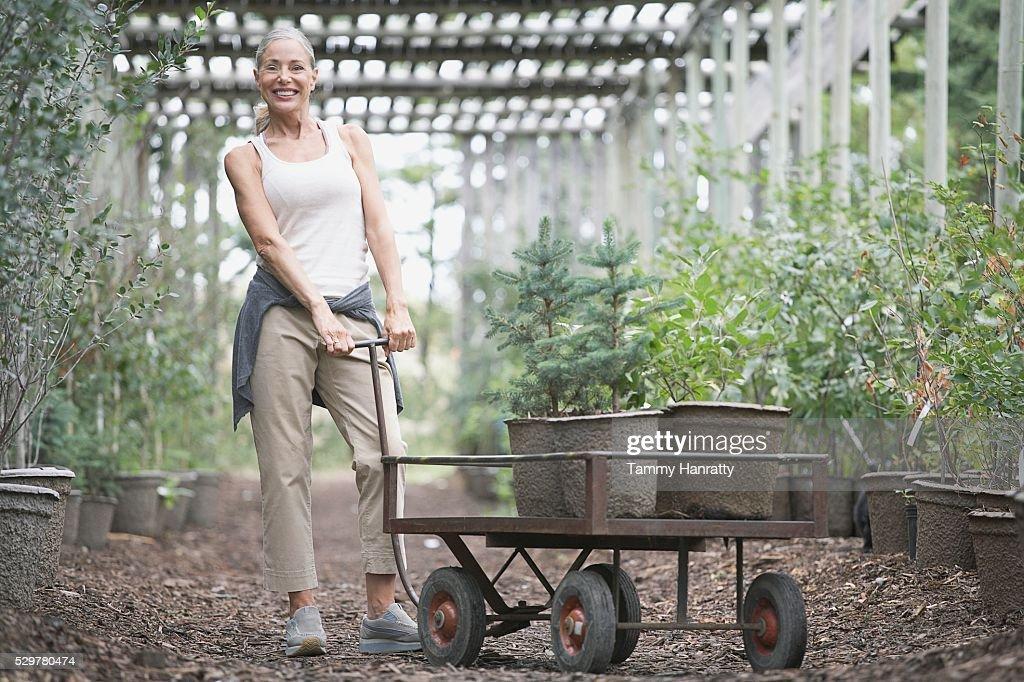 Woman shopping at garden center : Stockfoto