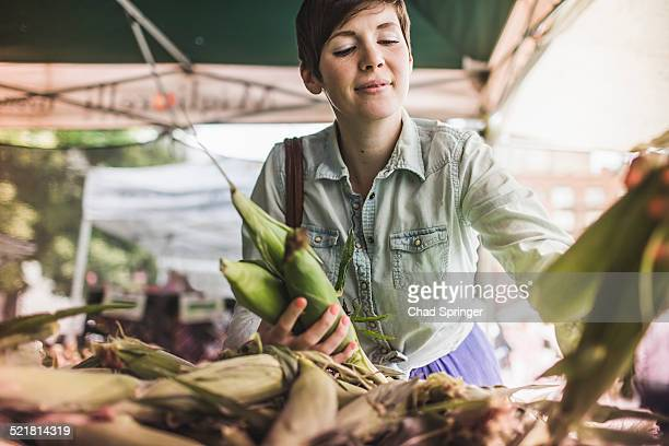 Woman shopping at vegetable market