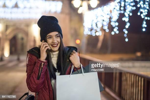 Woman shopping during Christmas holidays