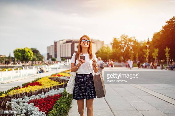 Woman shopping during the weekend