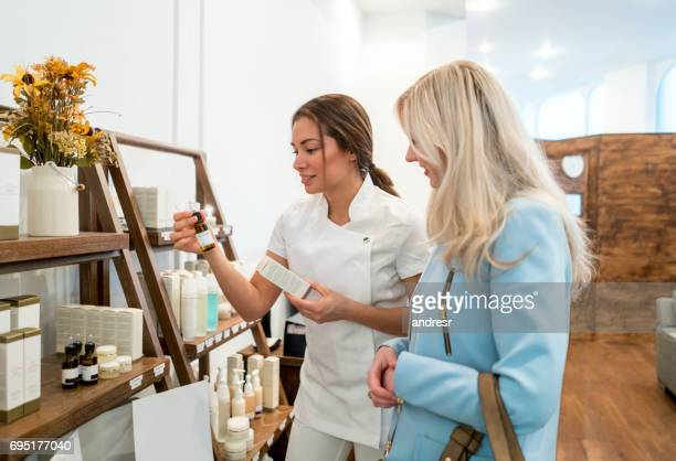Woman shopping for beauty products at a store