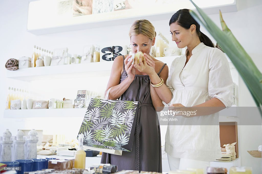 Woman shopping for cosmetics : Photo