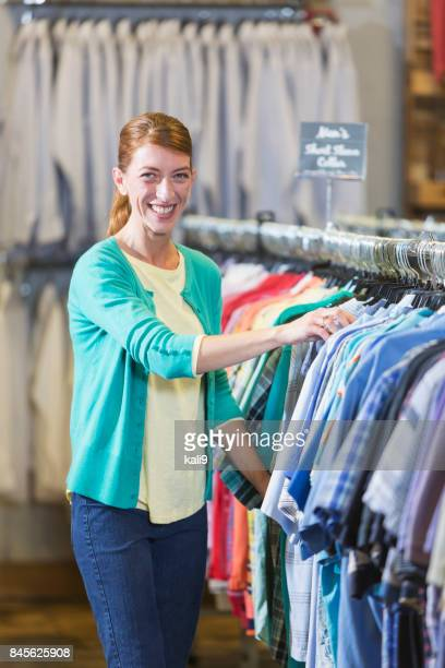 Woman shopping for men's clothing