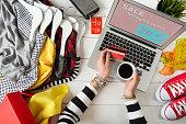 Woman shopping on internet