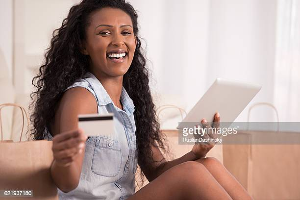 Woman shopping online.