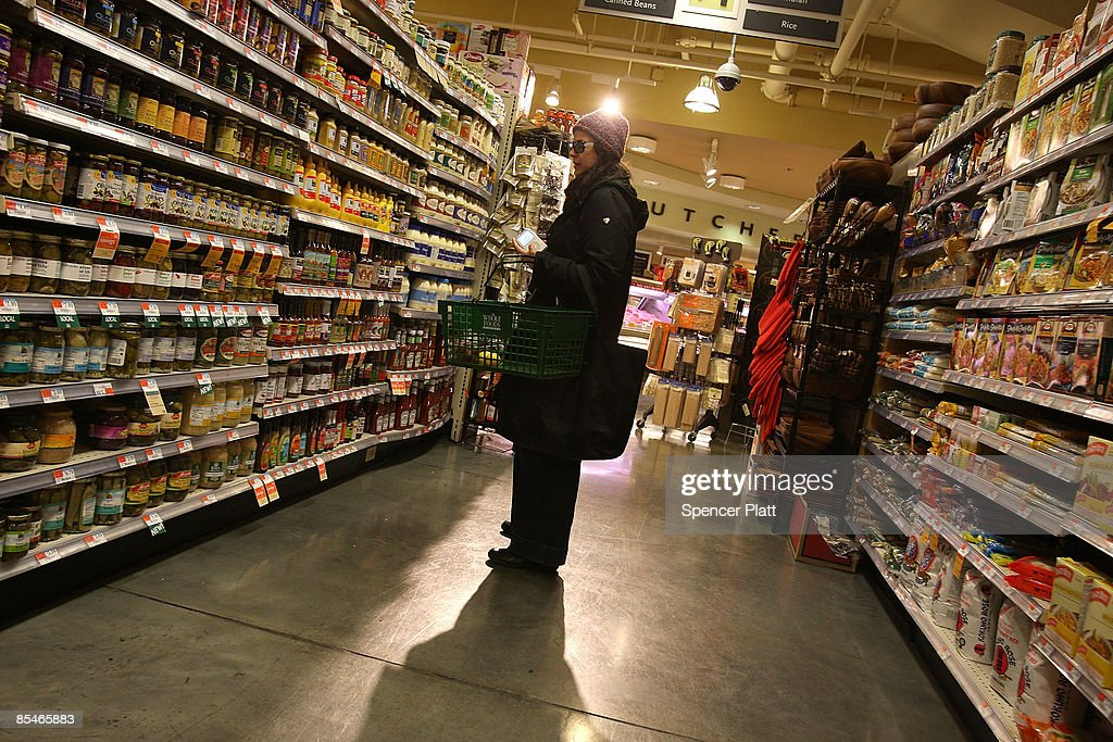 A woman shops at a Manhattan grocery store March 17, 2009 in New York City. The Labor Department reported Tuesday a big decline in food prices. Food costs have now fallen for three straight months, declining 1.6 percent in February, the biggest one-month decline in three years.