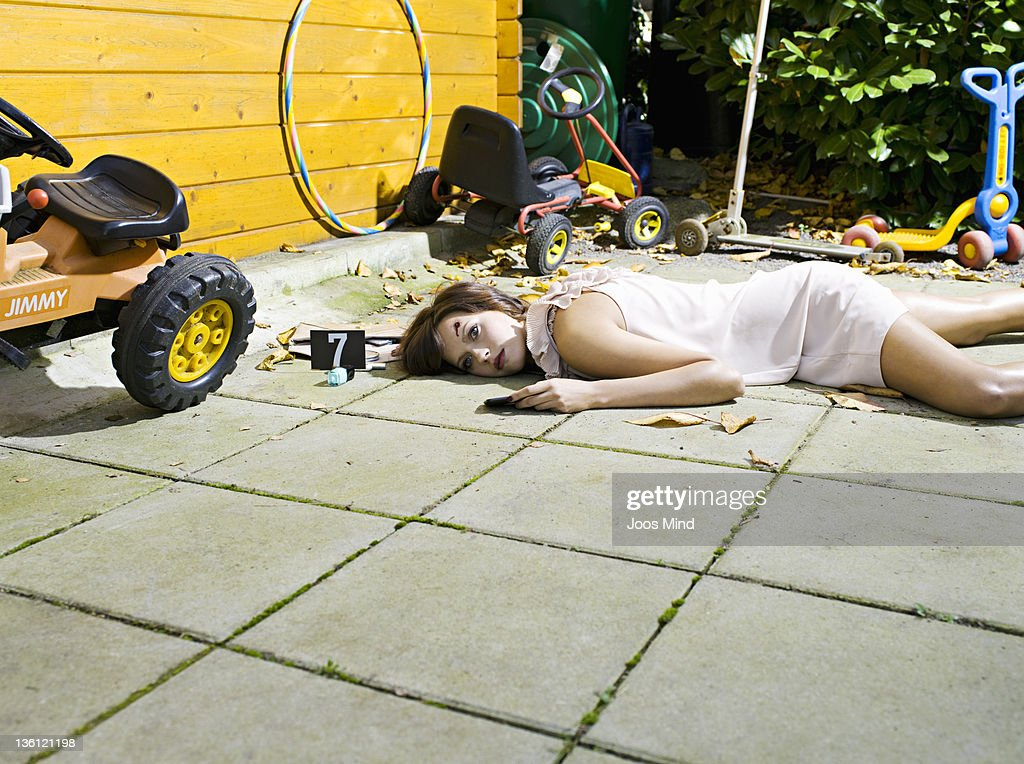 woman shot at the summer house : Stock Photo