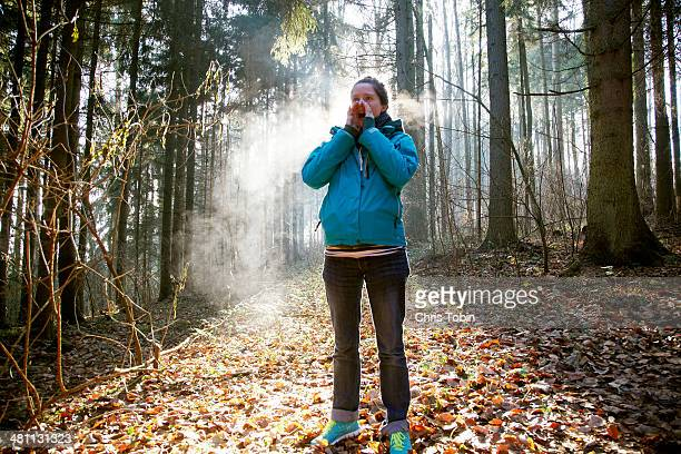 Woman shouting in forest