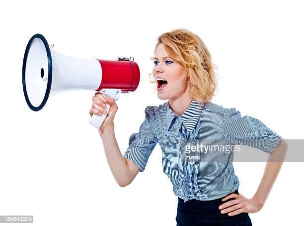 Frau schreien mit Megafon