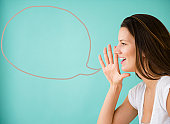 Woman shouting with speech bubble