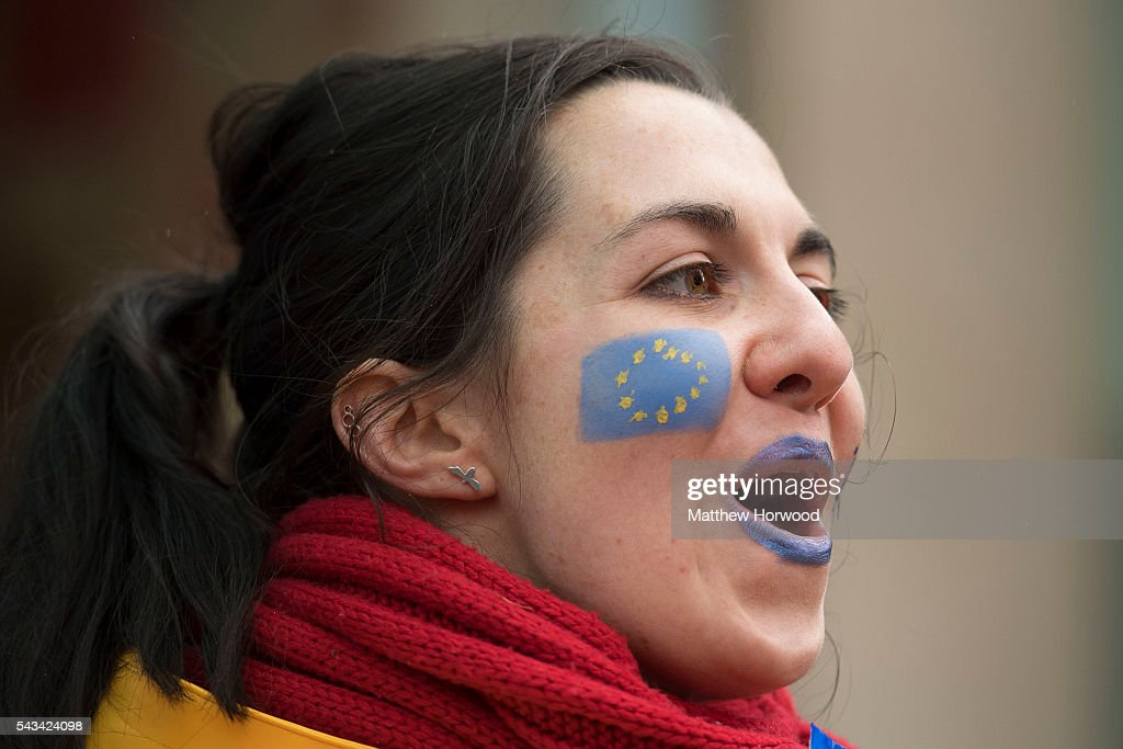 A woman shouts during an anti-Brexit rally on June 28, 2016 on the Hayes in Cardiff, Wales. The protest is at a time of economic and political uncertainty following the referendum result last week, which saw the UK vote to leave the European Union.