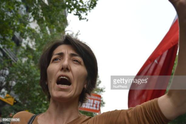 A woman shouts slogans during the 'Justice March' to protest against the Turkish government held by the main opposition Republican People's Party in...