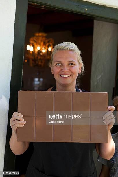 Woman showing chocolatebar