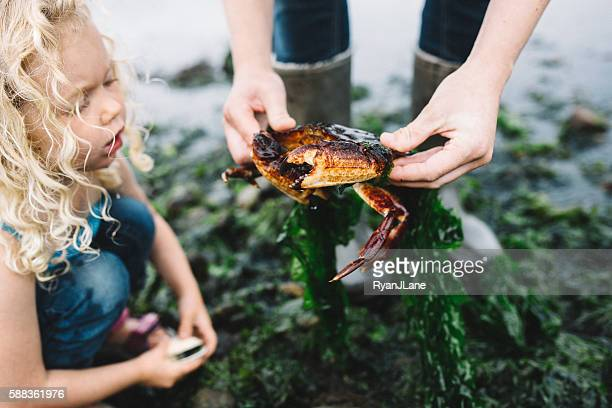 Woman Showing Girl a Crab